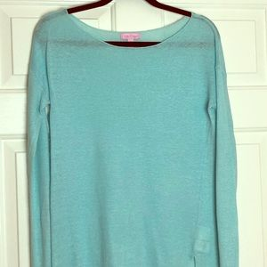Lily Pulitzer turquoise linen sweater